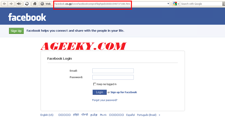 create Fake Facebook login page.